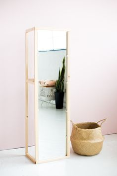 DIY wooden floor standing mirror | Fall For DIY | ♡ love this.