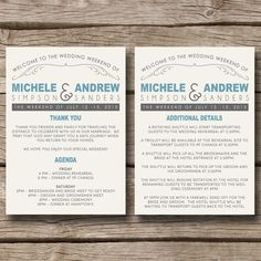 Rustic Country State // Wedding Weekend Itinerary or Thank You Card - Choose Your Own Colors.  DIY PDF File or Professionally Printed For You