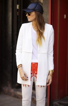 Not your basic white jeans. Danielle Bernstein in Tibi