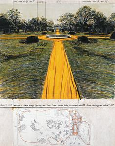 """Christo Wrapped Walk Ways (Project for Loose Park, Kansas City, Missouri) Collage 1978 28 x 22"""" (71 x 56 cm) Pencil, charcoal, pastel, fabric, photograph by Wolfgang Volz, wax crayon and map"""