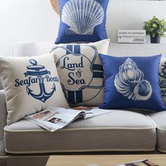 Sailing Series Cotton Linen Cushion Cover Home Sofa Decorative Throw Pillow