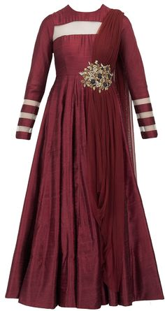 Maroon embroidered anarkali available only at Pernia's Pop-Up Shop.