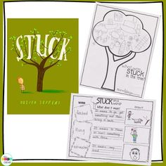 Identify words and phrases in stories or poems that suggest feelings or appeal to the senses using Stuck by Oliver Jeffers.