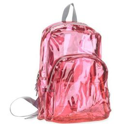 "Pink Clear Tinted Backpack Bag Bookbag 17"" Padded shoulder straps"