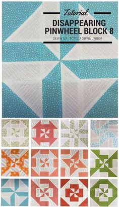 Block 8: Disappearing pinwheel quilt sampler - free tutorial