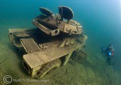 Armoured car & diver.  Eccleston Delph. by Mark Thomas