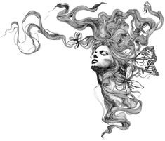 beautiful pencil art. long hair, hippy, flowers.