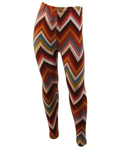 Kids Girls Soft Colorful Chevron Zig Zag Print Leggins In Red * Click image for more details.