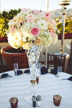 Pink and white centerpiece // photo by Sarah Kathleen, via http://theeverylastdetail.com/romantic-glam-navy-pink-and-gold-wedding/