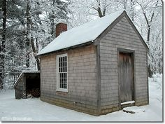 Henry David Thoreau's House at Walden (Winter) Walden House, Walden Pond, Tiny Guest House, Colonial Furniture, Wood Shingles, Lost In The Woods, Micro House, Cabin Interiors, Tiny House Movement