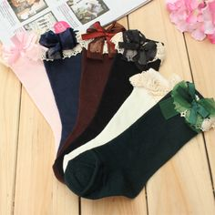 Sale 16% (3.72$) - Baby Girls Children Cotton Lace School High Knee Socks