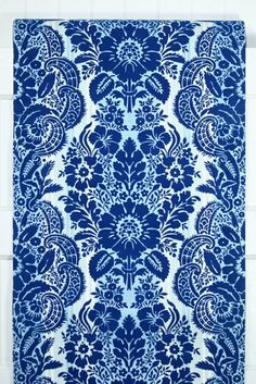 1970's Vintage Wallpaper Royal Blue Flocked by kitschykoocollage