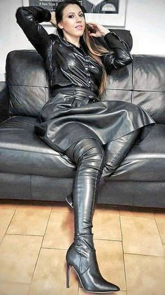 Black Leather Skirt teamed with a black Leather Blouse and tantalizing high Heels Black Leather Skirts, Leather Dresses, Leather And Lace, Leather Pants, Leather Fashion, Fashion Boots, Trent Coat, High Heel Boots, Heeled Boots