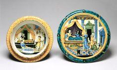 Childbirth Bowl (Scodella) and Tray (Tagliere) with Confinement-Chamber Scenes and Landscape. Castel Durante, ca. 1525–30. Tin-glazed earthenware (maiolica); bowl: H. 4 1/8 in. (10.5 cm), Diam. 6 7/8 in. (17.6 cm); tray: H. 1 1/2 in. (3.7 cm), Diam. 8 in. (20.2 cm) - The Walters Art Museum, Baltimore (48.1333.a,b)