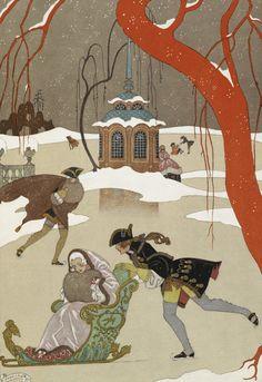 Skating - en patinant by George Barbier - British Library Prints
