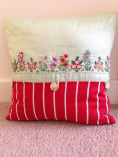 Vintage embroidered cushion  by madebybeaonline on Etsy, £55.00