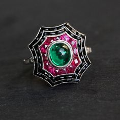 Art Deco Colombian emerald, ruby, and onyx ring