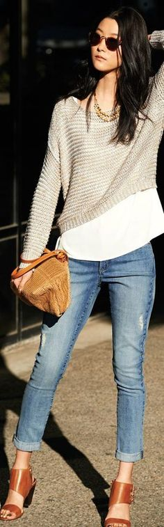 Knit Crop Sweater top with Denim Jeans and Pumps |...