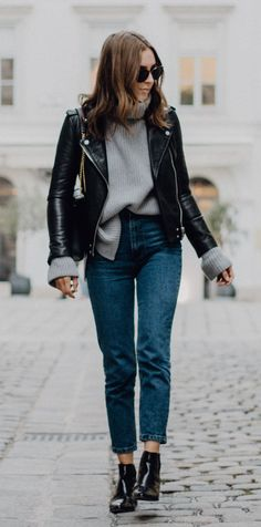 #fall #outfits women's black leather zip-up jacket and fitted jeans Click To Shop This Look.