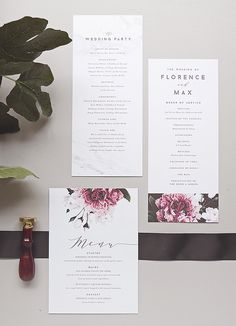 Floral + marble menu cards and programs by Rachel Marvin Creative More