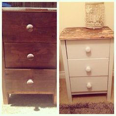 Before and after shabby chic, bedside table