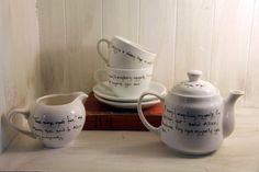 Tea for Two Set Hand Inked with Alice in Wonderland Quotes