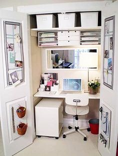 small home office designs in closets and with built in furniture