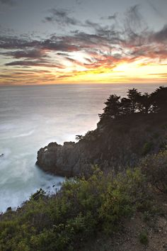 Image description: The Central California coast at sunset.  Photo by Joe MilMoe, U.S. Fish and Wildlife Services