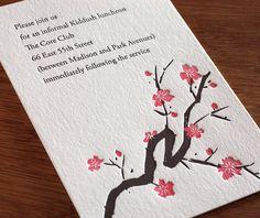 Letterpress #cherry #blossom wedding invitation Sakura.  | Invitations by Ajalon | http://invitationsbyajalon.com/