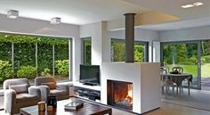 Gorgeous Double Sided Fireplace Design Ideas, Take A Look ! Home Fireplace, Modern Fireplace, Living Room With Fireplace, Fireplace Design, Fireplace Ideas, Fireplace Kitchen, Fireplaces, Double Sided Stove, Double Sided Gas Fireplace