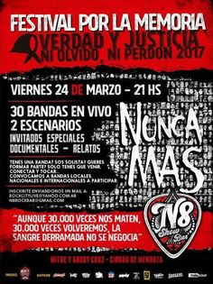 """Festival por la Memoria, en Mendoza! ¡Convocamos artistas! ¡Verdad y justicia! ¡Ni olvido, ni perdón! #NuncaMas.   CON #ENTRADA #GRATIS, el VIERNES 24 de #Marzo, a las 21 hs, el """"Festival por la memoria"""" se... http://sientemendoza.com/event/festival-por-la-memoria-en-mendoza-convocamos-artistas/"""