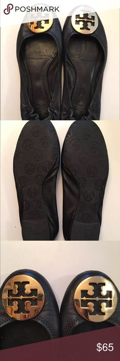 TORY BURCH Reva Black Leather Ballerina Flats Selling a pair of authentic preowned Tory Burch Reva ballerina flats in black leather. I got these from my friend awhile back since she didn't like flats. They should be size 7 (fits my 7 feet) but I took a photo with them next to a ruler, just in case! I read reviews and people said Reva runs slightly small. So it might fit on a size 6.5 too but please check my photo. Tory Burch Shoes Flats & Loafers