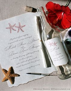 Beach wedding invitations arrive like a message in a bottle -- so creative!
