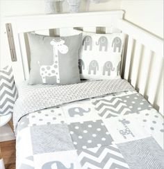 Monochrome grey elephant and giraffe patchwork nursery set