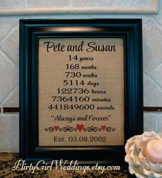 14th Anniversary | 14th Anniversary Gift for Wife | 14th Anniversary Gift | Anniversary Gift for Husband | Anniversary gift (ann101-14) & 24 Best Burlap Prints images | 2nd anniversary 2nd birthday ...