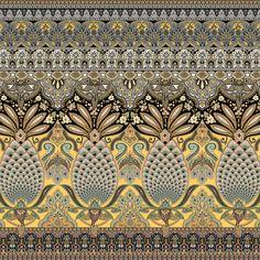 Border Pattern, Pattern Art, Pattern Design, Color Patterns, Textile Prints, Textile Design, Beautiful Flower Drawings, Flower Art Images, Boarder Designs