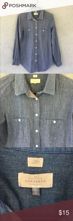 "Loft Softened Blue Denim Chambray Shirt Medium Buttoned down chambray shirt. Almost tunic length. 19"" bust. 29.5"" long. 100% cotton. Soft and thin. Perfect for layering. LOFT Tops Button Down Shirts"
