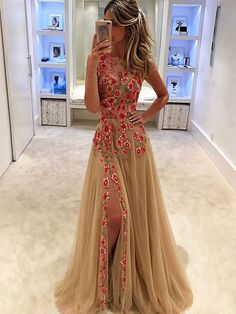 New Arrival Sexy Prom Dress, High Slit Prom Dress,Sexy Prom Dresses,Long Prom Dress with Flower,Tulle Evening Dress,Prom Dresses 2017,Prom Dress Ball Gown,PD015057