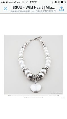 N1577 white shell pearl and silver bead necklace from the Wild Heart Collection