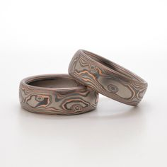 Matched Wedding Set of Figured Wood Grain Mokume in 14k Red Gold, Palladium, and Sterling Silver with Etched and Oxidized Finish