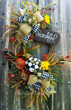 Reserved for Bridgette Thankful Black & by HolidayBaublesWreath