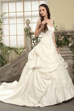 Impressive A-Line Sweetheart Chapel Train Satin Wedding Dress CWLT130CD