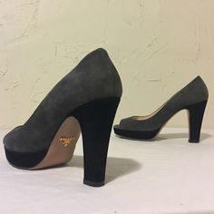 Grey Prada Peep Toes Love these! Worn. Not looking to sell yet. Damage to Gold Prada label on left heel. Super comfortable and timeless! Prada Shoes Heels