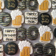 30th Birthday Cakes For Men, Beer Birthday Party, 30th Birthday Themes, Surprise 30th Birthday, Birthday Cheers, 30th Party, Birthday Cookies, Man Birthday, Birthday Quotes