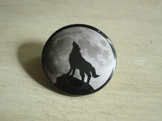 Wolf Howling at the Moon Pinback Button by bohemianapothecarium, $1.49