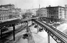 America's Gilded Age in NYC, c.1878. Horse-drawn carriages under the, Third Avenue elevated (El) train tracks. Viewed looking north to the east side of the Bowery, at Chatham Square, Lower Manhattan. ~ {cwlyons} ~ (Original Image: An Associated Press/AP Photo)
