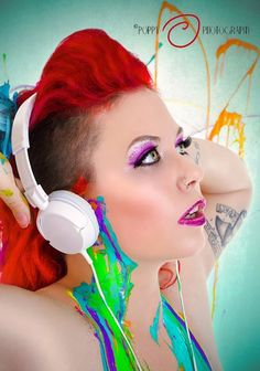 deanna deadly mohawk deathhawk shaved sides redhead red hair poppy photography model modeling alt alternative fetish headphones colorful color tattooed tattoos glitter boston unique paint music