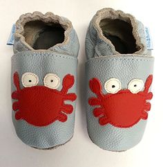 Zapatos diseño de cuero para bebé con suela de gamuza antideslizante niño o niña – Cangrejo Rojo (6-12)