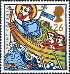 Royal Mail Special Stamps | St Augustine and St Columba. Missions of Faith St Columba in a boat