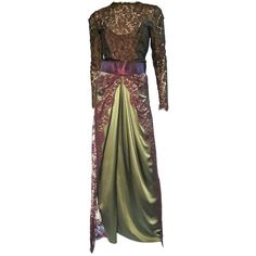 Preowned Bill Blass 70s Silk Chantilly Lace Sarong Gown ($800) ❤ liked on Polyvore featuring dresses, gowns, brown, preowned evening gowns, silk dress, brown gown, lace evening dresses and lacy dress